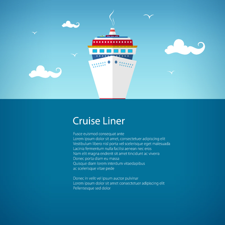 Cruise Ship at Sea, a Front View of the Liner, Travel Concept , Poster Brochure Flyer Design, Vector Illustration Imagens - 63072871