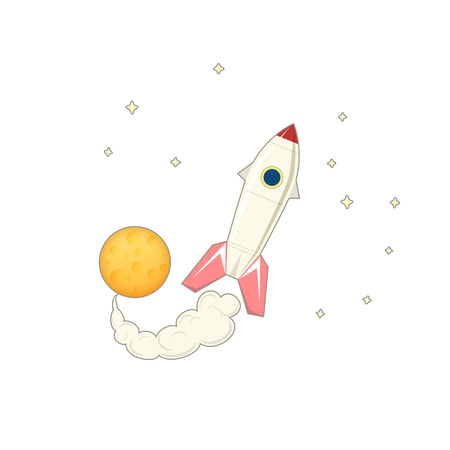 Rocket with Moon Isolated on White Background, Spacecraft Flying in Space among the Stars and Planets, Vector Illustration