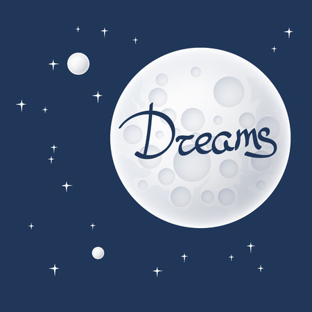 planetoid: Planet in Space and Text Dreams , Moon with Stars, Space Planet with Craters in the Universe, Vector Illustration Illustration