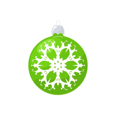 merrychristmas: Christmas Green Ball, Ball with Snowflake Isolated on White Background , Christmas Tree Decoration, Merry Christmas and Happy New Year, Vector Illustration