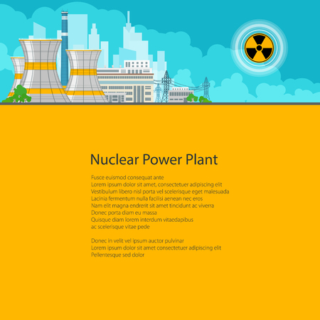 thermal power plant: Nuclear Power Plant on the Background of the City , Thermal Power Station, Electric Power Transmission from a Nuclear Power Plant, Poster Brochure Flyer Design, Text on Yellow Background