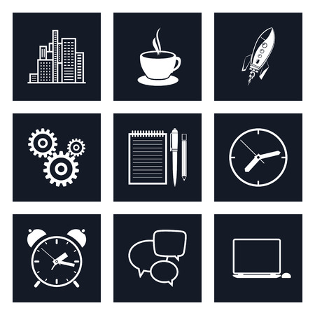 long hours: Set of Black Round Business Icons, Office Work, Team Work, Long Hours in the Office, Presentation and Discussion, Black and White Vector Illustration