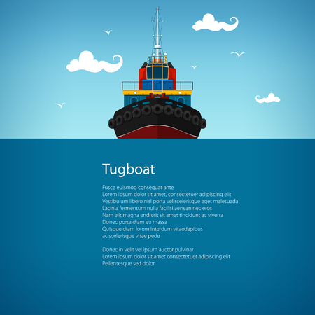 mooring: Front View of the Tugboat, Pushboats for Towage and Mooring of Other Courts , Poster Brochure Flyer Design, Vector Illustration