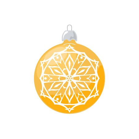 Yellow Ball with Snowflake Isolated on White Background , Christmas Tree Decoration, Merry Christmas and Happy New Year, Vector Illustration Illustration