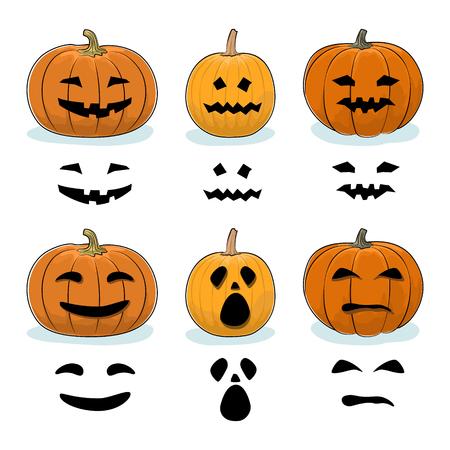 Set Geschnitzte Scary Halloween Kürbisse, Ein Jack-o-Laterne, Kürbis ...