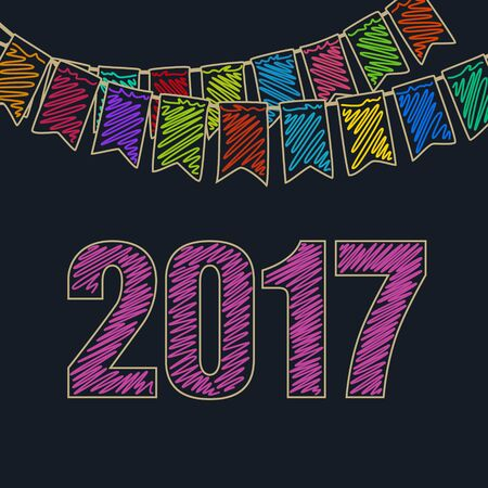 Merry Christmas and Happy New Year 2017 , Christmas Festive Background, Holiday Colorful Colored Bunting Flags and the Pink Date of 2017, Drawing Crayons or Markers, Vector Illustration