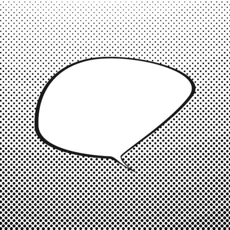 bubble background: Speech Bubble on White Background with Black Dots , Speech Bubble on Halftone Background, Retro Style,Gradient Down Up, Vector Illustration