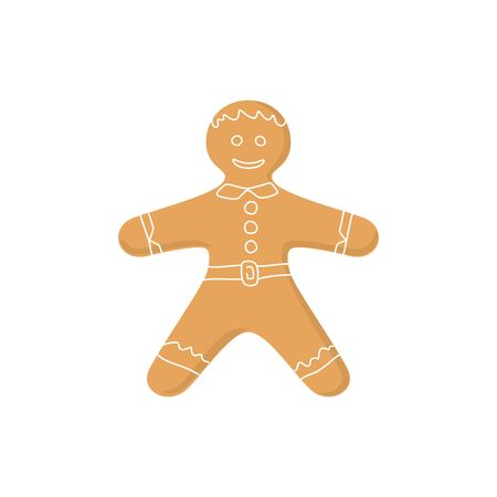 Christmas Gingerbread Man Decorated White Icing and Cream, Cookie Gingerbread Man Isolated on White Background , Happy New Year Festive Biscuit Man, Christmas Decoration, Vector Illustration