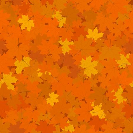 Autumn Seamless Background, Fallen Yellow and Orange Maple Leaves, Vector Illustration