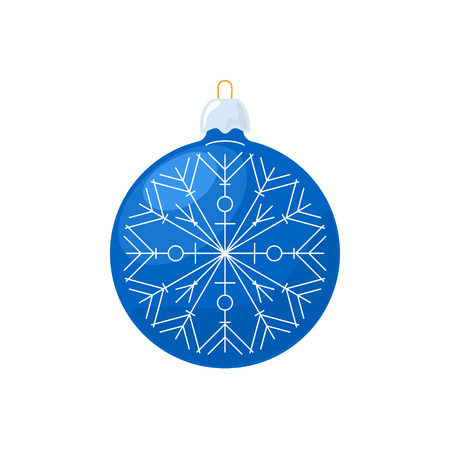 merrychristmas: Christmas Blue Ball with Snowflake Isolated on White Background , Christmas Tree Decoration, Merry Christmas and Happy New Year, Vector Illustration