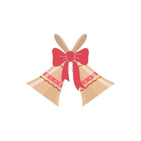 jingle bells: Holiday Jingle Bells with Ornament Decorated with a Pink Bow Isolated on White Background, Christmas Decoration, Vector Illustration
