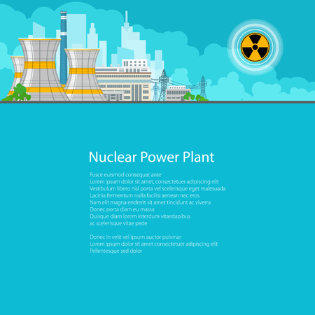 Nuclear Power Plant on the Background of the City , Thermal Power Station, Electric Power Transmission from a Nuclear Power Plant, Poster Brochure Flyer Design, Text on Blue Background,Vector