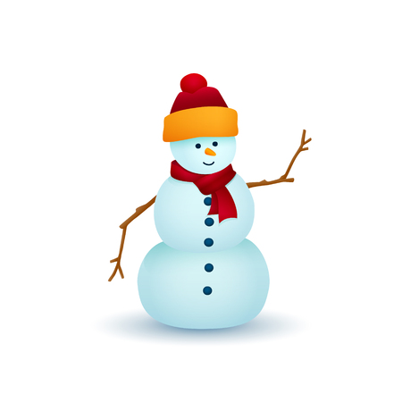 Christmas Snowman Isolated on White Background, White Snowman in a Hat and Scarf , Christmas Decorations, Merry Christmas and Happy New Year, Vector Illustration