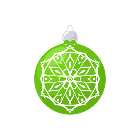 Green Ball with Snowflake Isolated on White Background , Christmas Tree Decoration, Merry Christmas and Happy New Year, Vector Illustration Illustration