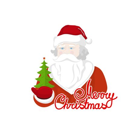 Santa Claus Holds in a Hand Green Christmas Tree, Merry Christmas and Happy New Year , Noel Isolated on White Background , Vector Illustration