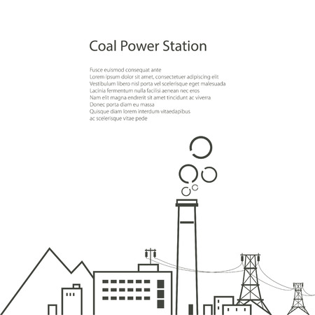 industrial complex: Coal Power Station Isolated on White Background, Complex Industrial Facilities with the Power Line, Energy Industry, Poster Brochure Flyer Design, Vector Illustration