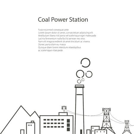 Kohlekraftwerk auf weißen Hintergrund, Komplexe Industrieanlagen mit der Stromleitung, Energiewirtschaft, Poster Broschüre Flyer Design, Vektor-Illustration
