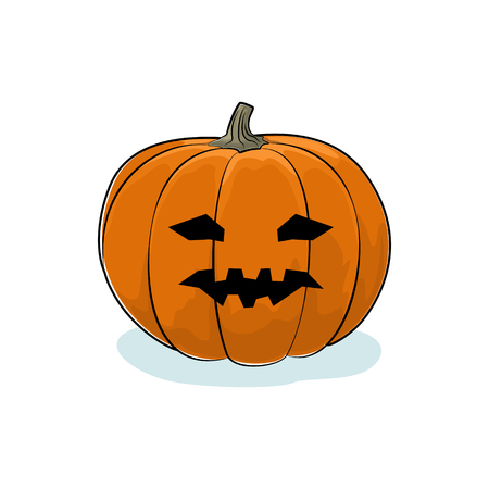 vicious: Carved Vicious Scary Halloween Pumpkin, a Jack-o-Lantern on White Background, Vector Illustration