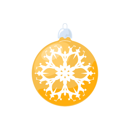 Christmas Yellow Ball, Ball with Snowflake Isolated on White Background , Christmas Tree Decoration, Merry Christmas and Happy New Year, Vector Illustration