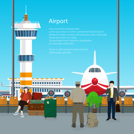 through travel: Waiting Room with People in Airport and Text , View on Airplane and Control Tower through the Window from a Waiting Room , Travel Concept, Flat Design, Vector Illustration