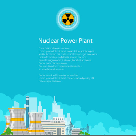 steam turbine: Nuclear Power Plant on the Background of the City , Thermal Power Station, Electric Power Transmission from a Nuclear Power Plant, Poster Brochure Flyer Design, Radiation Sign, Vector Illustration