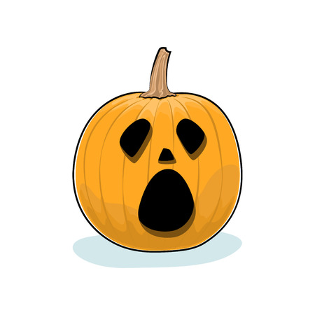 Carved Cry Scary Halloween Pumpkin on White Background, a Jack-o-Lantern, Vector Illustration Illustration