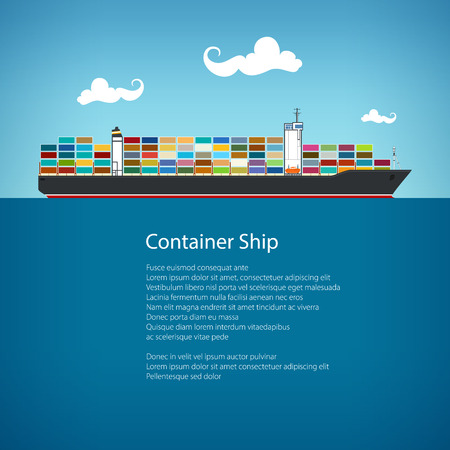tonnage: Cargo Container Ship and Text, Industrial Marine Vessel with Containers on Board, International Freight Transportation, Poster Brochure Flyer Design, Vector Illustration