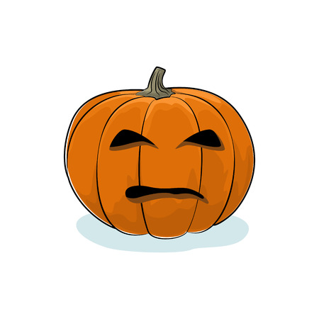 Carved Evil Scary Halloween Pumpkin, a Jack-o-Lantern on White Background, Vector Illustration