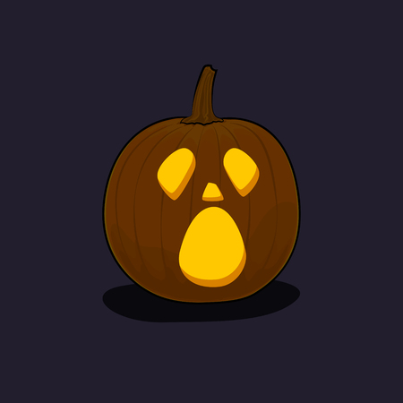 Carved Cry Scary Halloween Pumpkin on Dark Background, a Jack-o-Lantern, Vector Illustration