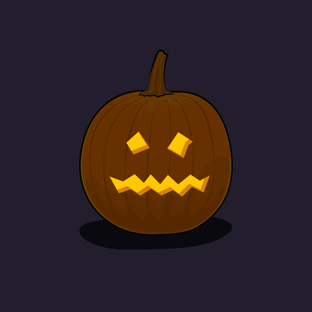 terrible: Carved Terrible Scary Halloween Pumpkin on Dark Background, a Jack-o-Lantern, Vector Illustration Illustration
