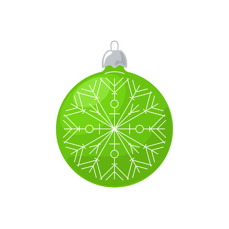 Christmas Green Ball with Snowflake Isolated on White Background , Christmas Tree Decoration, Merry Christmas and Happy New Year, Vector Illustration