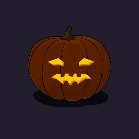 vicious: Carved Vicious Scary Halloween Pumpkin, a Jack-o-Lantern on Dark Background, Vector Illustration Illustration