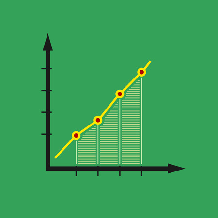 Chart , Graphic Success, Graph Growth Isolated on Green Background, Vector Illustration