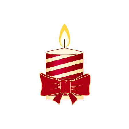 Colorful Christmas Festive Striped Candle Isolated on White Background, Christmas Decorations, Merry Christmas and Happy New Year , Vector Illustration