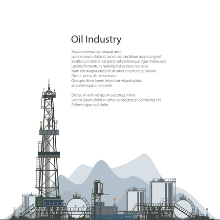 Oilfield, Drilling Oil or Natural Gas Rig with Outbuildings and Tanks and Cisterns, Poster Brochure Flyer Design, Vector Illustration