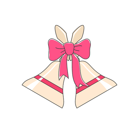 jingle bells: Holiday Jingle Bells Decorated with a Pink Bow Isolated on White Background, Christmas Decoration, Vector Illustration Illustration