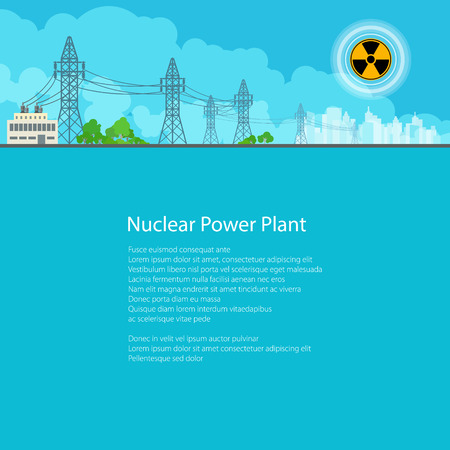 amperage: High Voltage Power Lines Supplies Electricity to the City,Electric Power Transmission, Poster Brochure Flyer Design, Text on Blue Background,Radiation Sign, Vector Illustration Illustration