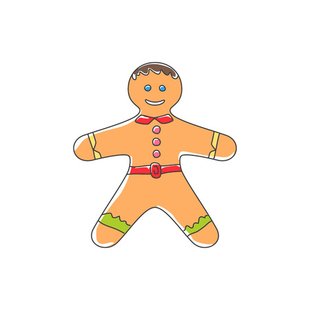 Christmas Cookie Gingerbread Man Decorated White Icing and Cream Isolated on White Background , Happy New Year Festive Biscuit Man, Christmas Decoration, Vector Illustration Illustration