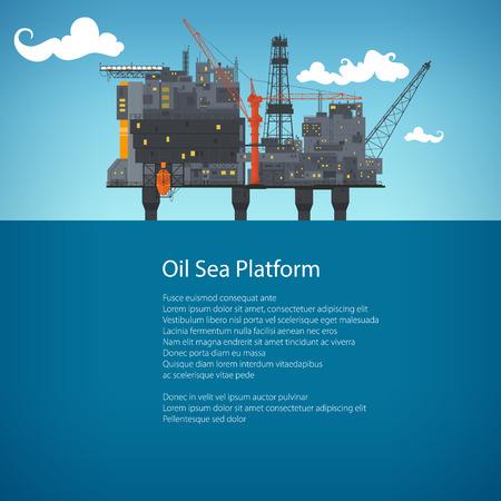 sea pollution: Offshore Sea Oil Platform at Sea and Text, Oil Industry , Poster Brochure Flyer Design, Vector Illustration Illustration