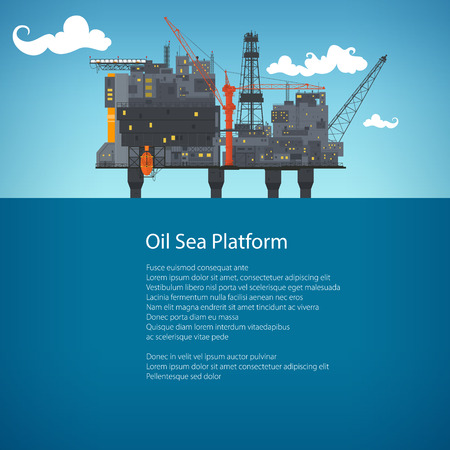 Offshore Sea Oil Platform at Sea and Text, Oil Industry , Poster Brochure Flyer Design, Vector Illustration Illustration
