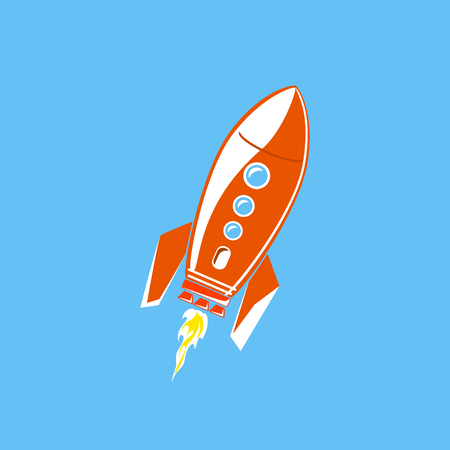 Red Rocket, Spaceship Isolated on Blue Background, Vector Illustration
