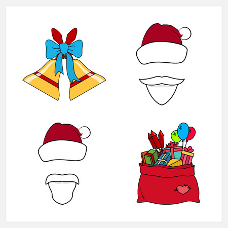 newyear: Set of Colorful Christmas Line Style Icons, Holiday Jingle Bells Decorated with a Blue Bow, Santa Claus with a Beard, Mustache and Hat without a Face, Red Bag with Gifts, Vector Illustration Illustration