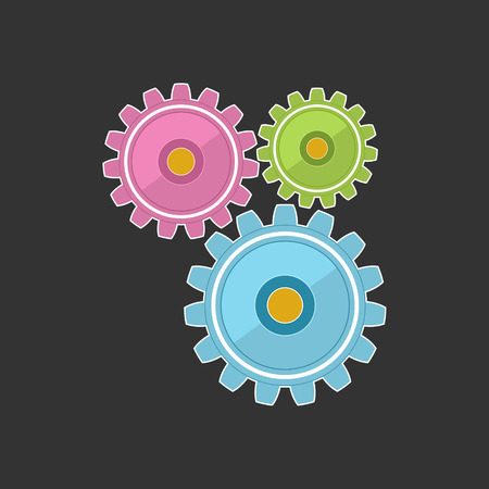Gears Isolated on Gray Background, Teamwork, Team Effort, Vector Illustration Illustration