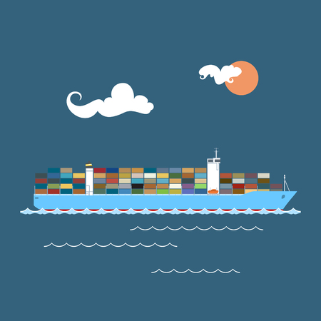 tonnage: Cargo Container Ship at Sea , Industrial Marine Vessel with Containers on Board, International Freight Transportation, Vector Illustration