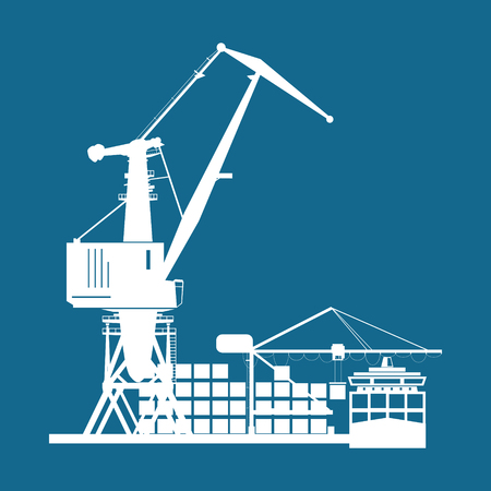 shipbuilding: Cargo Seaport Isolated on Blue , Unloading Containers from a Cargo Ship in a Docks with Cargo Crane, Silhouette Container Ship at the Dock, International Freight Transportation, Vector Illustration Illustration