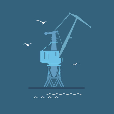 Marine Dockside Crane, Port Cargo Crane at Sea, Vector Illustration