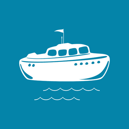 Lifeboat Isolated on Blue, Marine Rescue Vessel, Vector Illustration