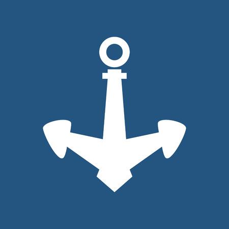 mooring: Anchor Isolated on Blue Background, Ship Equipment, Vector Illustration Illustration