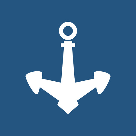 Anchor Isolated on Blue Background, Ship Equipment, Vector Illustration Illustration