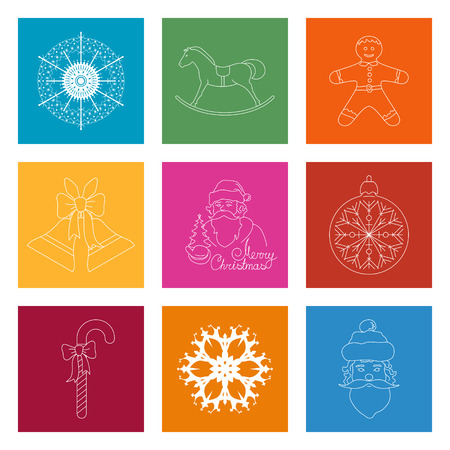 Set of Colorful Square Linear Icon, Icon Christmas Decoration, Merry Christmas and Happy New Year, Vector Illustration